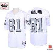 Mitchell And Ness Oakland Raiders 81 Tim Brown White with Silver No. Authentic NFL Jersey