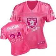 Women's Nike Oakland Raiders 34 Bo Jackson Game Pink 2012 Fem Fan NFL Jersey