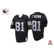 Youth Mitchell and Ness Oakland Raiders 81 Tim Brown Black Team Color Authentic NFL Throwback Jersey