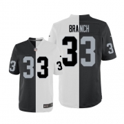 Men's Nike Oakland Raiders 33 Tyvon Branch Elite Team/Road Two Tone NFL Jersey