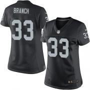 Women's Nike Oakland Raiders 33 Tyvon Branch Elite Black Team Color NFL Jersey