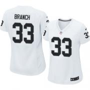 Women's Nike Oakland Raiders 33 Tyvon Branch Elite White NFL Jersey