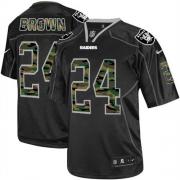 Men's Nike Oakland Raiders 24 Willie Brown Elite Black Camo Fashion NFL Jersey