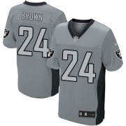 Men's Nike Oakland Raiders 24 Willie Brown Limited Grey Shadow NFL Jersey