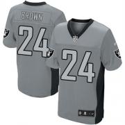 Men's Nike Oakland Raiders 24 Willie Brown Elite Grey Shadow NFL Jersey