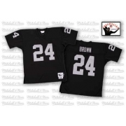 Mitchell and Ness Oakland Raiders 24 Willie Brown Black Team Color Authentic Throwback NFL Jersey