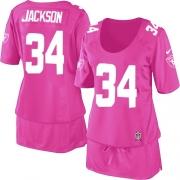 Women's Nike Oakland Raiders 34 Bo Jackson Elite Pink Breast Cancer Awareness NFL Jersey
