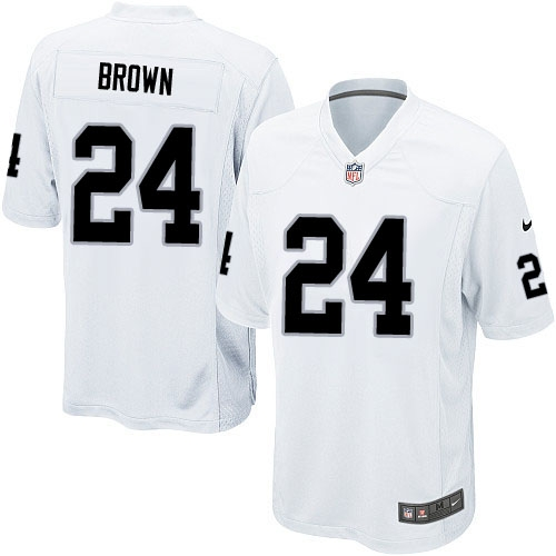 Youth Nike Oakland Raiders 24 Willie Brown Elite White NFL Jersey